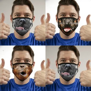 Interés Animalización Animal Boca Máscaras Oído Tipo Colgante Lavable Hombres a prueba de polvo Hombres Masas de la boca Plegable 3 5yl J2