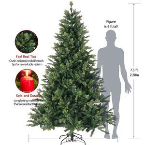 Año Nuevo del partido del hogar Decoración festiva Artificial 7,5 pies PE mezcla de PVC de alta calidad árbol de navidad de metal plegable de pie stock de EE.UU.