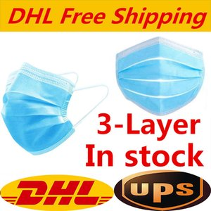 DHL Free Disposable Face Mask with Elastic Ear Loop 3 Ply Breathable and Comfortable for Blocking Dust Air Pollution Protection Pack