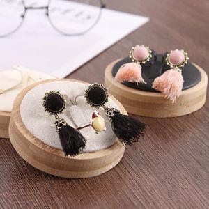 Nouvelle Creative Solide Wood Fashion Bijoux Earrings Display Boucles d'oreilles Bague Set de sonnerie Set de boîtier de bijoux Props Boîte