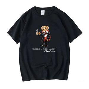 الجملة 100٪ من النساء مصمم القطن الفاخرة لعبة البولو t قميص قصير الأكمام عارضة فضفاضة مضحك بارد تي شيرت مع الطباعة USA الدب نمط