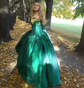 Vintage Dark Green Long Prom Dresses Strapless Corset Plus Size Princess Sweet 16 Dress Quinceanera Brithday Party Formal Evening Gowns Lace