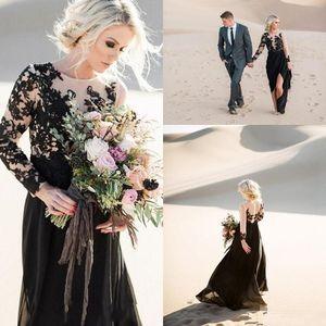 2021 Black Long Sleeves Wedding Dresses A Line Jewel Neck Lace Applique Chiffon Floor Length Side Slit Wedding Bridal Gown vestido de novia