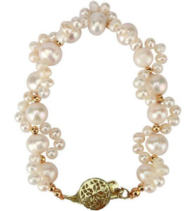 """Pretty design Gorgeous 7.5-8"""" south sea white baroque pearl bracelet 14k Good buyer, prompt payment, valued customer, highly recommended."""