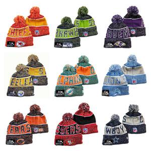 superiore a buon mercato nuovo cofano Beanie cappelli di football americano di 32 squadre Berretti sport invernali linea laterale caps in maglia Gorros Stoffe Cappelli goccia shippping