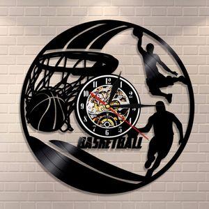 Basketball Players Silhouette Wall Art Vinyl Record Wall Clock Slam Dunk Basketball Home Decor Sports Gift Wall Watch Clock