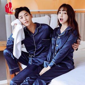 Silk Men Pajama Sets Maniche lunghe Sleepwear Uomini Suit Casual Pigiama Pigiama uomo solido Set di pigiami di seta estiva Mi piace Abbigliamento da notte Abbigliamento da uomo 201109
