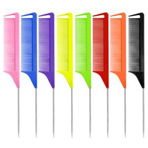 Carbon Pin tail Comb,Anti static Heat Resistant,Metal Slim Wire Tail Comb,Rat tail Lift Comb