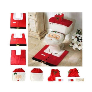 Household Christmas Santa Claus Cloth Toilet Foot Pad Cover Toilet Seat Cover Radiator Cap Cover Decorations Bathroom Set Wzecz