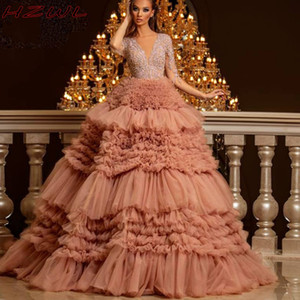 Ball Gown Evening Dresses Illusion Long Sleeves Deep V neck Tiered Tulle Celebrity Pageant Gowns vestidos de fiesta Zipper Back Prom Dress