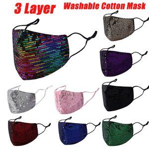 Fashion Bling 3D Washable Reusable Mask PM2.5 Face Care Shield Sun Color Gold Elbow Sequins Shiny Face Cover Mount Masks