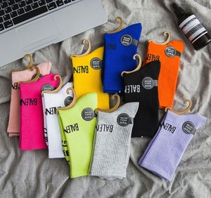 VfTl2 18 autumn and winter new fashion Medium medium Candy women's Paris letter family women's middle tube socks cotton candy color fashion
