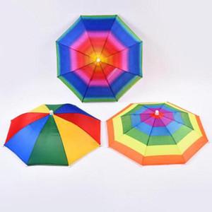 아기 머리 모자 우산 어린이 재미 레인보우 인쇄 우산 야외 접이식 태양 우산 E 비치 모자 캡 헤드 모자 Wy484