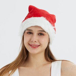 Adult Red Santa Claus Hat Christmas Ornaments Santa Claus Plush Cap Xmas Cap Polyester Hat Wedding Party Christmas Decoration BH4328 WXM