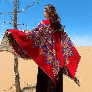 Red Nation Retro Style Warm Shawl Tibet Xinjiang Nepal Multi Purpose Scarf Cloak Female