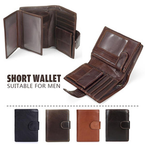 Vintage Leather Wallet Minimalsit Men Luxury Short Wallets Pu Leather Men Purse Card Case Money Clips Money Bag