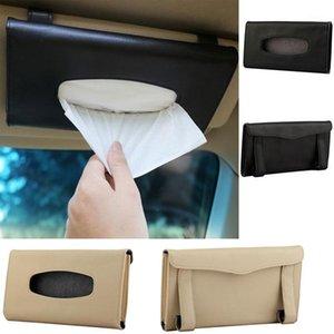 Portable And Convenient Car Sun Visor Tissue Case Black   Beige Leather Tissue Case Napkin Accessories1