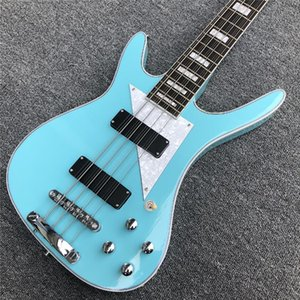 Custom Wholesale 4 6 8 12 String Light Green Electric Bass Guitar, Ebony Fingerboard, Customization Available