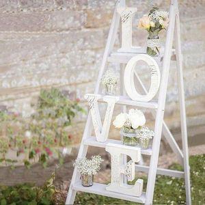 Bois de mariage d'amour blanc signe de mariage romantique Décoration bricolage Mariage Lettres d'amour Photographie Props 15 * 13 * 2cm Rb2b #