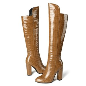 Women's Knee High Boots New Fashion Block Heel Winter Long Shoes Woman Sexy Cowboy Boots Warm Party Footwear Shoes ZOGEER