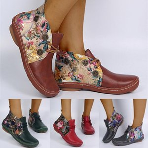 High Quality Retro Boots Women Leather Flat Lace-Up Flower Print Short Booties Round Toe Shoes European Ladies Shoes