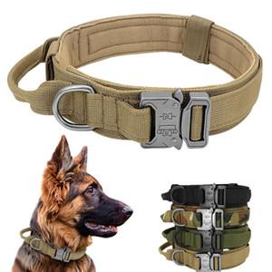 Taktik Köpek Yaka Kolu Ile Dayanıklı Askeri Naylon Köpek Yaka Ayarlanabilir Eğitim Yaka Büyük Köpekler için K9 Alman WMTBBA