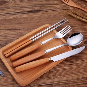 Knife Fork Spoon Chopsticks Tableware Kits Wooden Handle Stainless Steel Dinner Service Household Kitchen Dinnerware Sets Portable 11bk J1