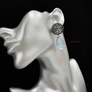 National style black color diamond flower blue crystal broken diamond dandelion Earrings big water drop high sense French style
