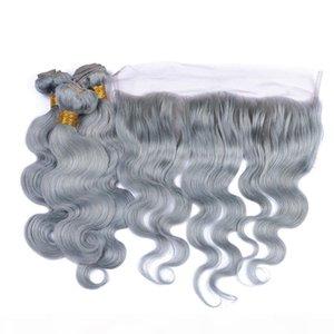 실버 그레이 인간의 머리 처녀 브라질 머리 짜기 전체 레이스 정면 바디 웨이브 컬러 회색 인간의 머리 묶음 거래와 3 번들
