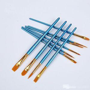 Kids Student Watercolor Gouache Painting Pen Nylon Hair Wooden Handle Paint Brush Set Drawing Art Supplies 10Pcs Set