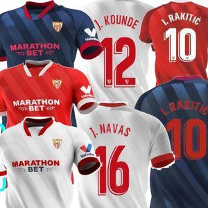 20 21 Sevilla J.NAVAS Accueil bleu blanc rouge I.Rakitic Mens Football Maillots DE JONG Nolito Rakitic Séville chándal de Fútbol maillot de football 2021