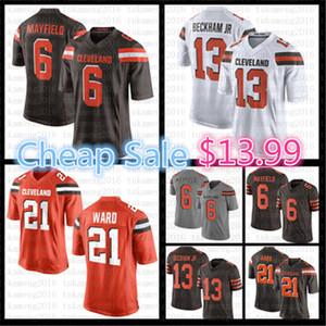 6 Baker Mayfield Jersey 13 Odell Beckham JR 21 Denzel Ward Jerseys Football américain Couleur Rush Orange Blanc