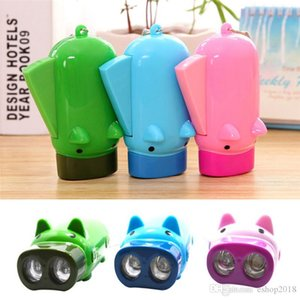 Hot hand pressure rechargeable mini flashlight kids toy lighting pocket flashlight piggy design self-recharge with 3 led