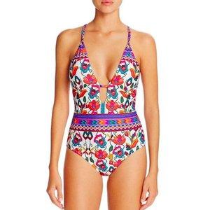 Women High Waisted Bathing Suits Ethnic Brazilian Swimsuit Deep V Plunge Swimwear Crisscross Strappy Beachwear Trending Monokini