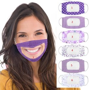 Deaf-Mute Lip Language Purple Printing Full Face Transparent Window Mask for Adults