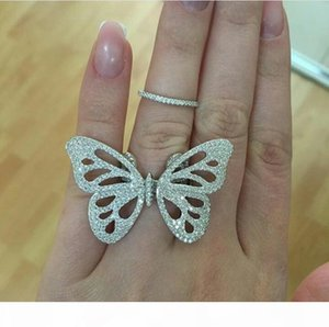 The Hollow Butterfly Ring of Sterling Silver 925 with the Moving Butterfly Ring with Moving Wings with Color Stone Wedding Jewelry For Party
