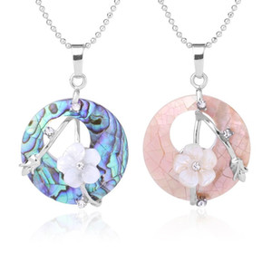 Colorful Natural Abalone Shell Pendants Necklaces White Pink Round Gems Beads Flower Zircon Women Charms Jewelry Gifts