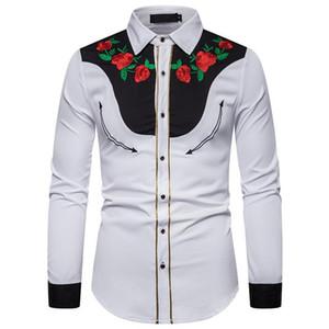 Erkek Casual Gömlek Afrika Moda Dashiki Erkekler Ekstra Zengin Bazin Patchwork Mens 2021 Slim Fit Uzun Kollu Gül Çiçek Tops