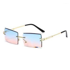 선글라스 여성 럭셔리 레트로 차양 거울 다채로운 그라데이션 사각형 렌즈 광장 프레임리스 아이 워아 UV4001