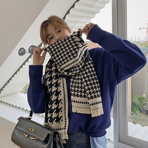Scarves women in winter, thick warm neck, thousand bird grid color matching plaid scarf women's shawl for autumn and winter