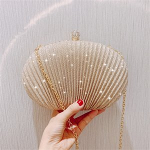 luxury diamonds sequins shell clutch bag designer clip chain women shoulder bags gold silver lady evening bag small party purse