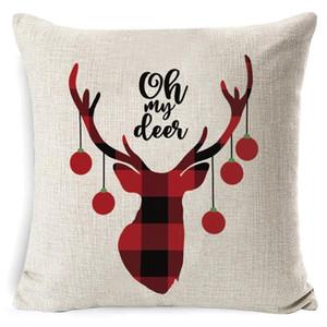 Almohada de Navidad de la tela escocesa de lino Throw fundas de almohada plaza Sofá Almohada decorativa reposacabezas cubierta del amortiguador de Navidad de Pillowslip Inicio AHD2890