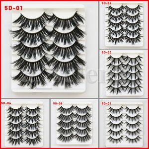 5Pair Set 22mm Mink cils 3D faux cils mink extension de cils 5D lash cils longs épais épais dramatiques yeux