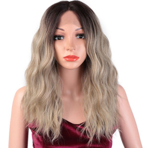 I's a wig Short Water Wave Lace Front Wigs Ombre Blonde Synthetic Lace Wigs for Women Middle Part Nature Daily Trendy Wigs