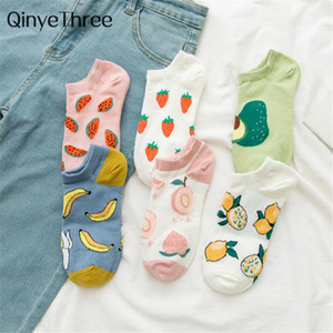 Calzini hosiery 2021 ragazze moda estate divertente carino cartone animato felice frutta avocado fragola anguria banana limone peach sokken