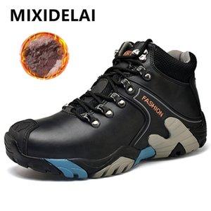 Mixidelai Boyutu 38-46 Moda Su Geçirmez Kar Lace Up Erkekler Ayak Bileği Çizmeler Sıcak Kış Ayakkabı Erkek 201209