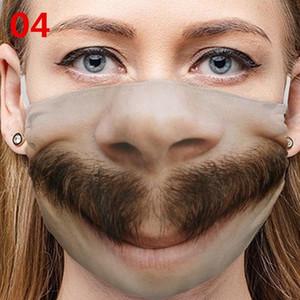 Funny Countenance Mascarillas Emoticon Smile Beards Teeth Cotton Cigar Nose Respirator Mouth Tongue Reusable Face Masks Washable