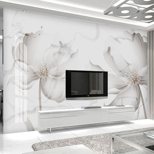 Custom Mural Wallpaper Modern Simple Creative Flower Abstract White Marble Wall Painting Living Room TV Bedroom 3D Wall Stickers