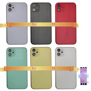 1Pcs Voltar Habitação para iPhone 11 do quadro Tampa porta traseira Chassis Médio Voltar tampa da bateria com vidro para IPhone 11 botões laterais