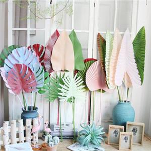 Coloreadas de hojas de palma artificial de hojas de montera de plástico flores decorativas para la carretera de boda plantas artificiales principales para la decoración del hogar yhm670